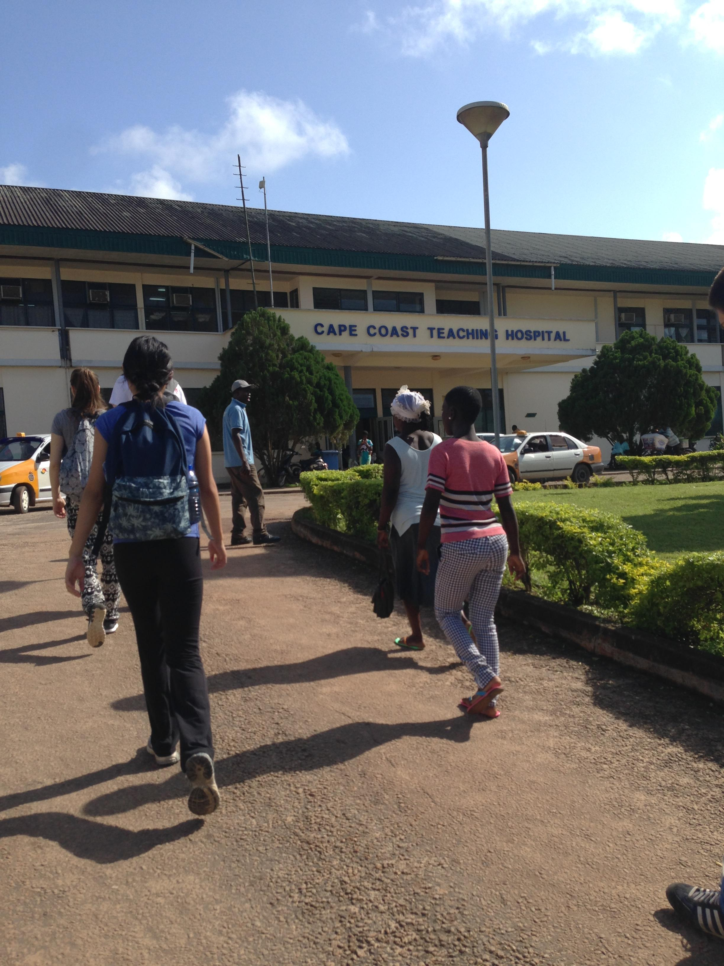 Local people visit the teaching hospital in Cape Coast, where many students do Nursing internships in Ghana with Projects Abroad.